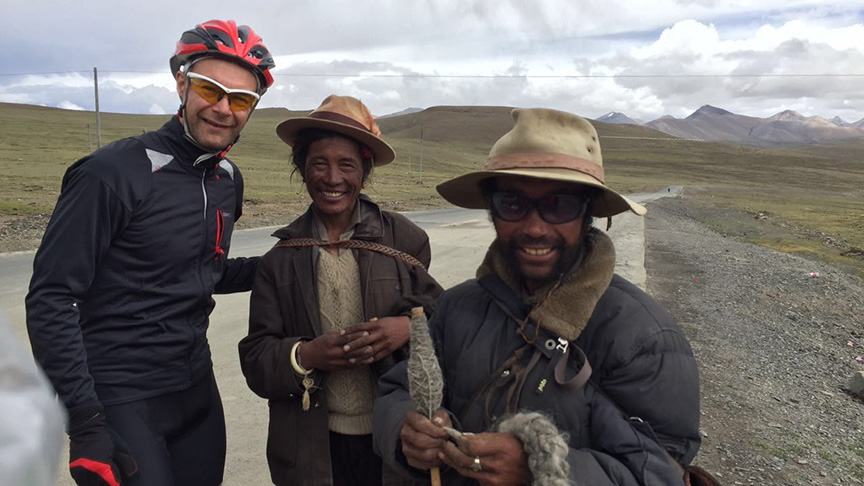 The locals come of nowhere to say hello and kick tyres - even at 5000m in the middle of nowhere